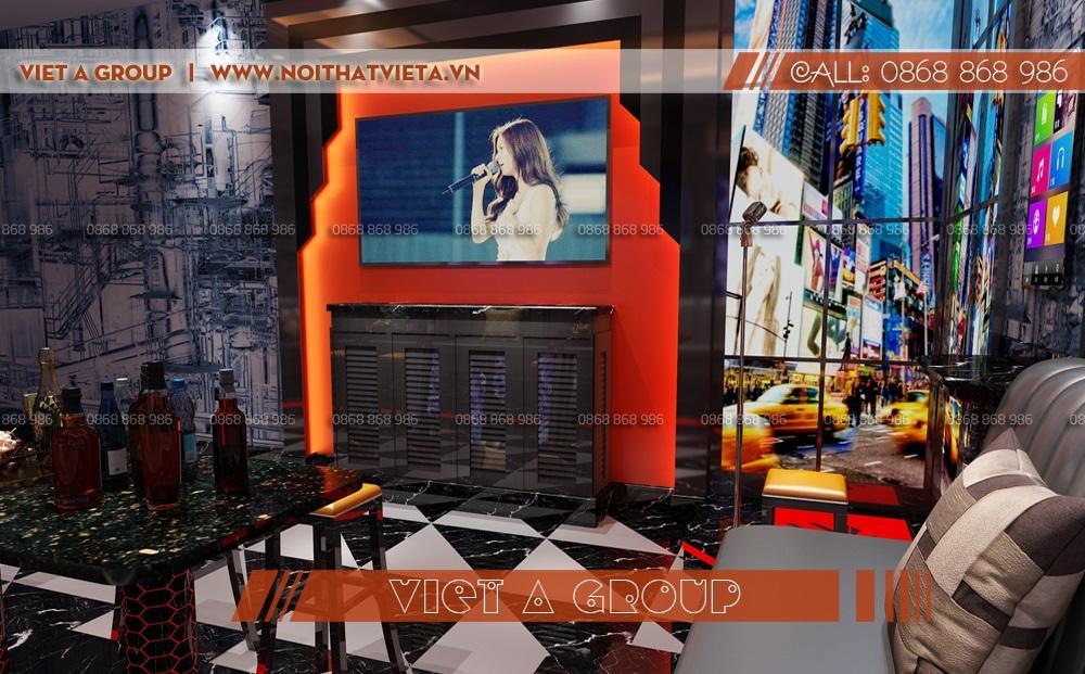 Phòng karaoke diện tích nhỏ phong cách hiện đại.
