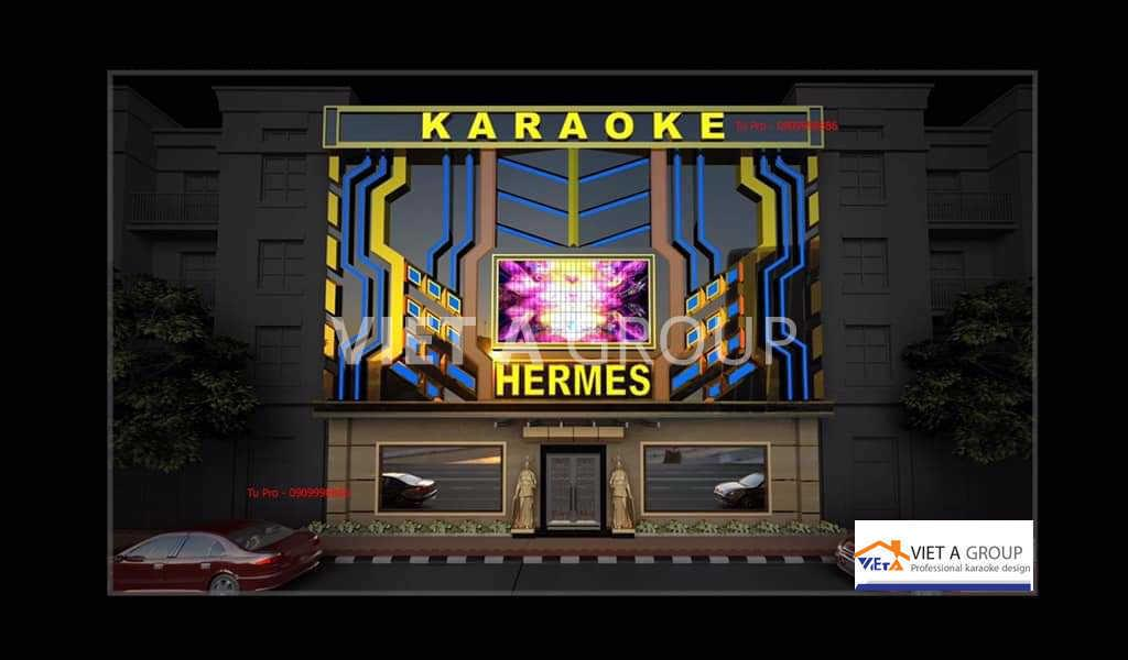 Mặt ngoài biển quảng cáo quán karaoke HERMES