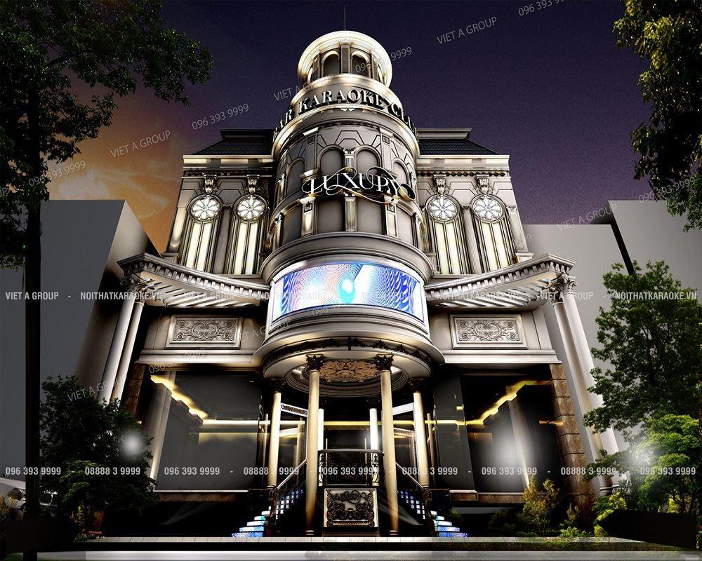 Trang trí thi công mặt tiền phong cách Classico quán karaoke Luxury TP Nha Trang