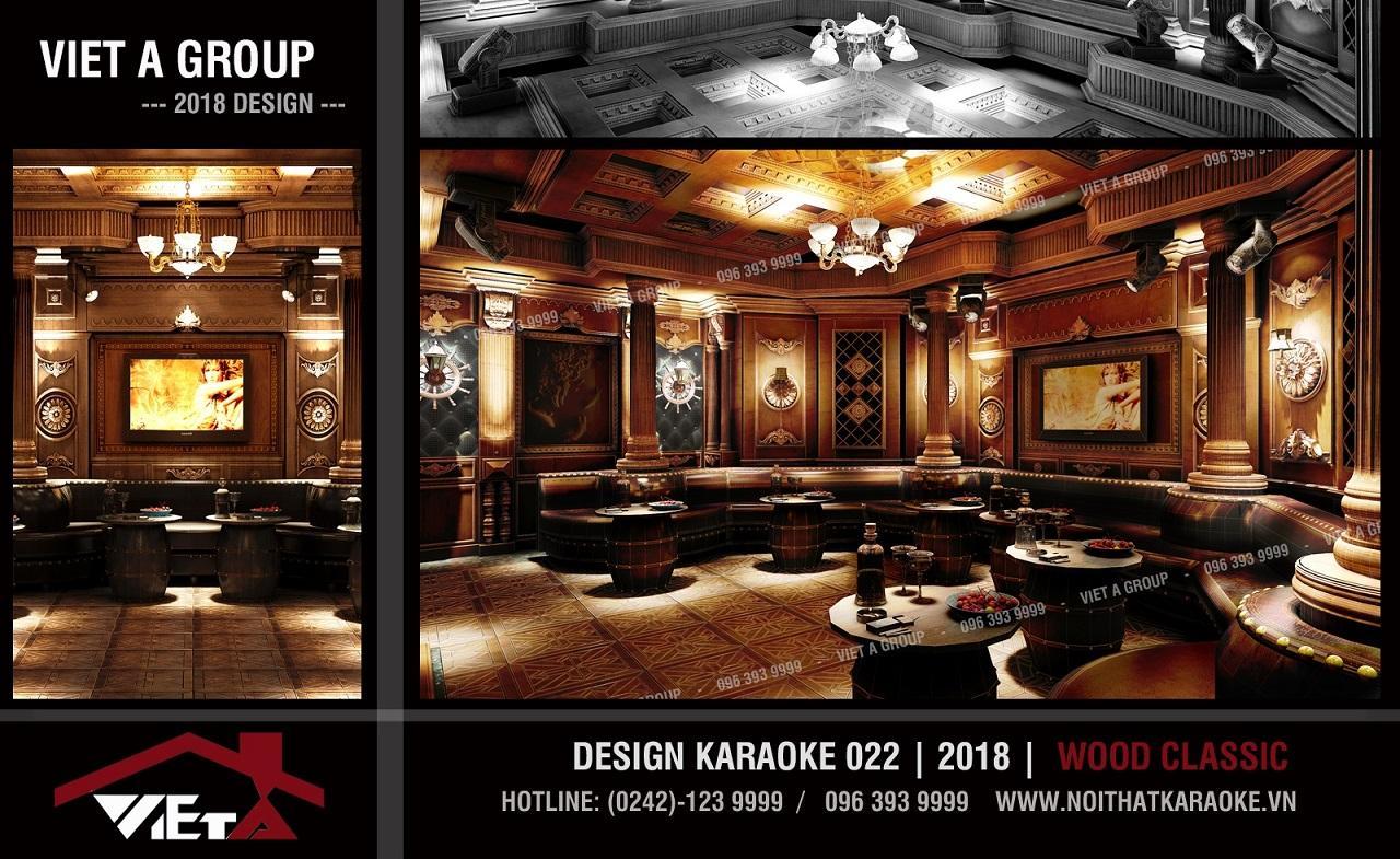 Mẫu phòng karaoke phong cách gỗ mộc