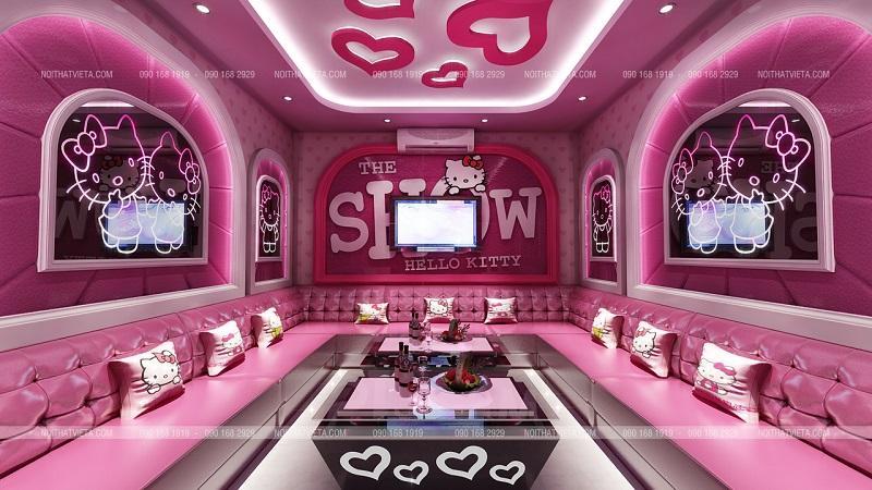 Phòng hát karaoke Hello Kitty ấn tượng